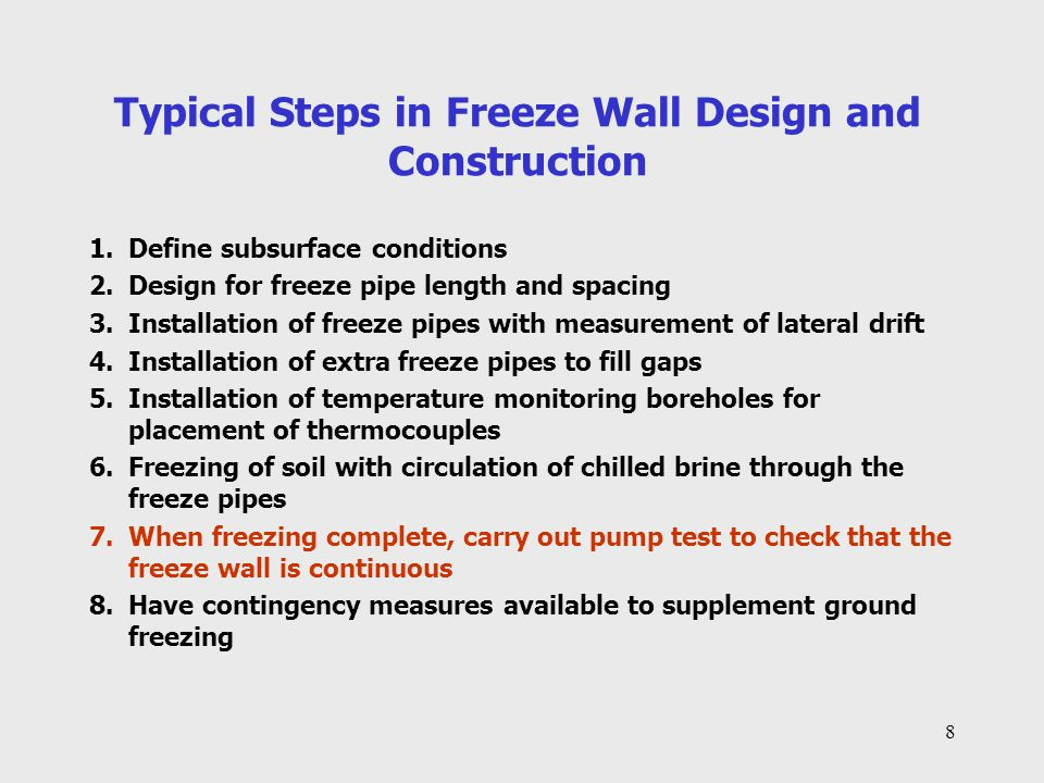 19 Criteria for Freeze Ring and Shaft 1.Provide lateral support and prevent water inflow 2.Allow archaeological investigation as the shaft excavation proceeds 3.Freeze ring to extend to a depth of 240 feet below existing ground surface to achieve penetration of about 20 to 30 feet into competent anhydrite bedrock 4.Allowance to be made for lateral excavation beyond the limits of the freeze wall to follow man-made tunnels or chambers in bedrock 5.Shaft diameter at bedrock surface to be of sufficient diameter (70 feet) to include the location where the original Money Pit excavation extended below bedrock surface 6.Diameter of freeze ring at 200 feet depth to be of sufficient size to include most of the man-made chambers in bedrock