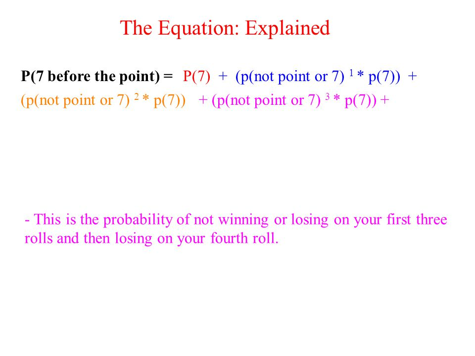 P(7 before the point) =P(7)+ (p(not point or 7) 1 * p(7)) + (p(not point or 7) 2 * p(7))+ (p(not point or 7) 3 * p(7)) + - This is the probability of not winning or losing on your first three rolls and then losing on your fourth roll.