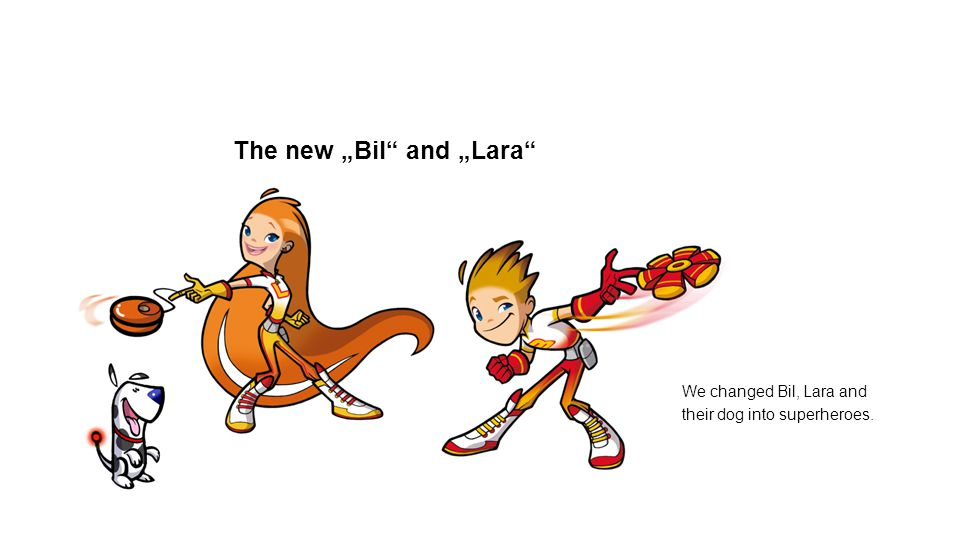 The new Bil and Lara We changed Bil, Lara and their dog into superheroes.