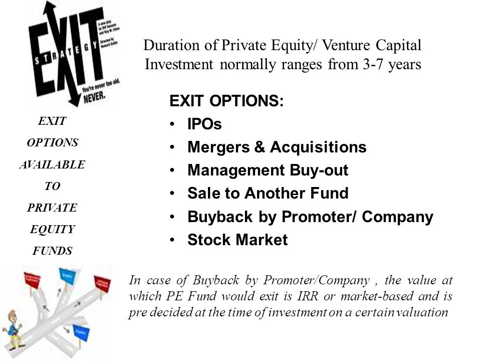EXIT OPTIONS: IPOs Mergers & Acquisitions Management Buy-out Sale to Another Fund Buyback by Promoter/ Company Stock Market EXIT OPTIONS AVAILABLE TO PRIVATE EQUITY FUNDS Duration of Private Equity/ Venture Capital Investment normally ranges from 3-7 years In case of Buyback by Promoter/Company, the value at which PE Fund would exit is IRR or market-based and is pre decided at the time of investment on a certain valuation