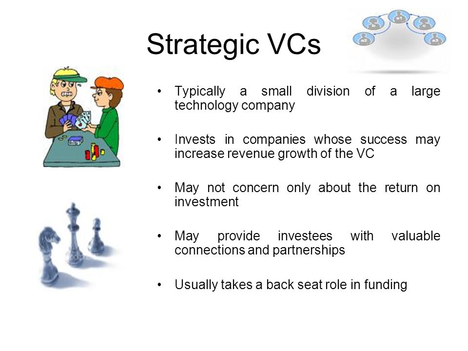 Strategic VCs Typically a small division of a large technology company Invests in companies whose success may increase revenue growth of the VC May not concern only about the return on investment May provide investees with valuable connections and partnerships Usually takes a back seat role in funding