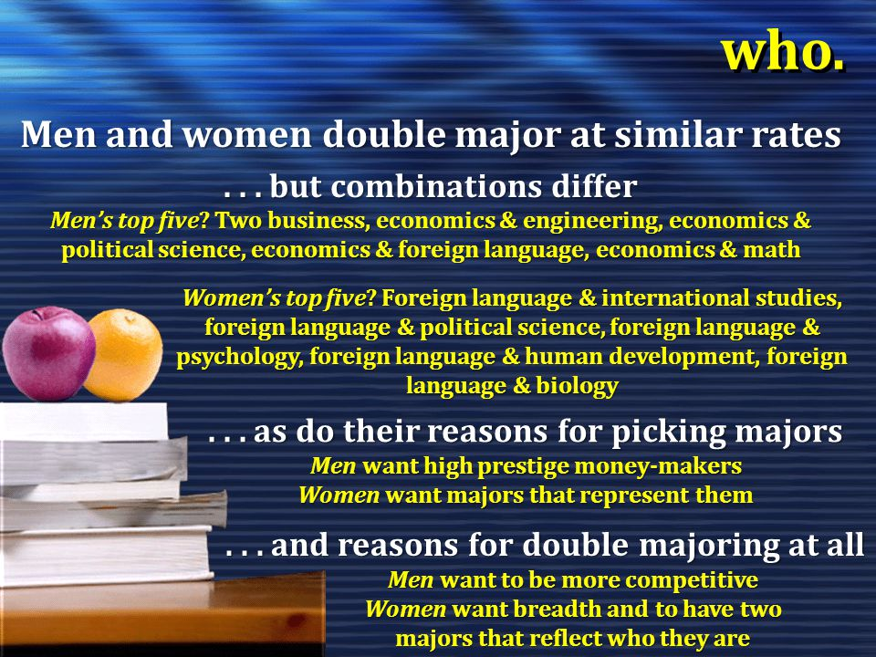 who. Men and women double major at similar rates...