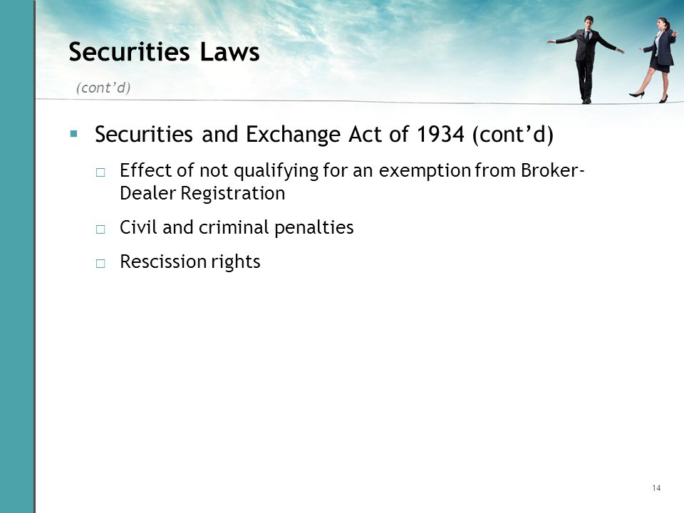14 Securities Laws Securities and Exchange Act of 1934 (contd) Effect of not qualifying for an exemption from Broker- Dealer Registration Civil and cr