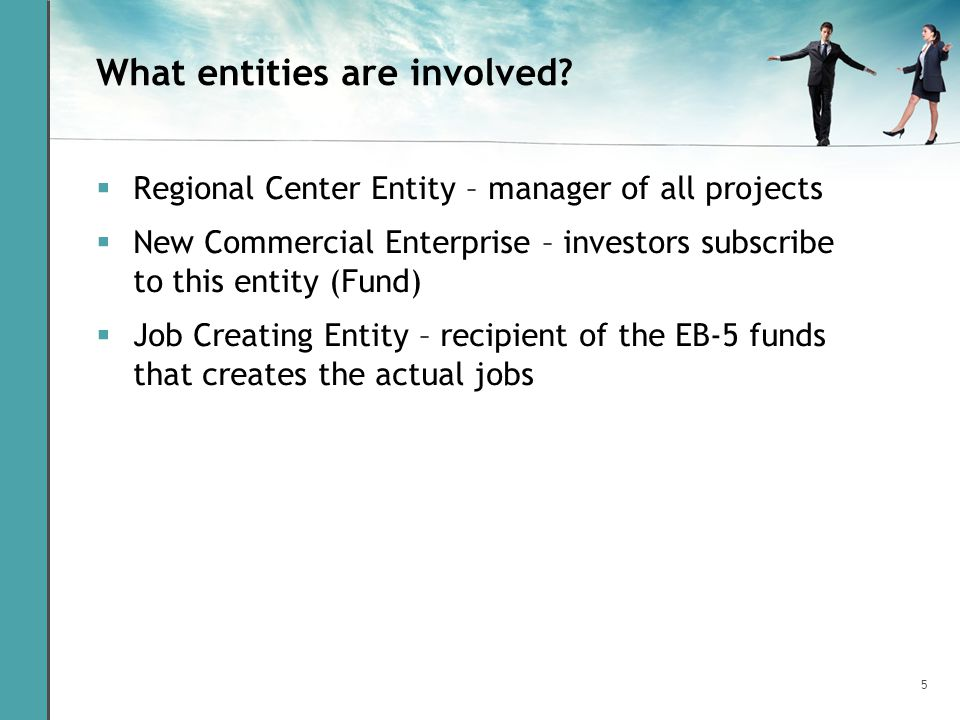5 What entities are involved? Regional Center Entity – manager of all projects New Commercial Enterprise – investors subscribe to this entity (Fund) J