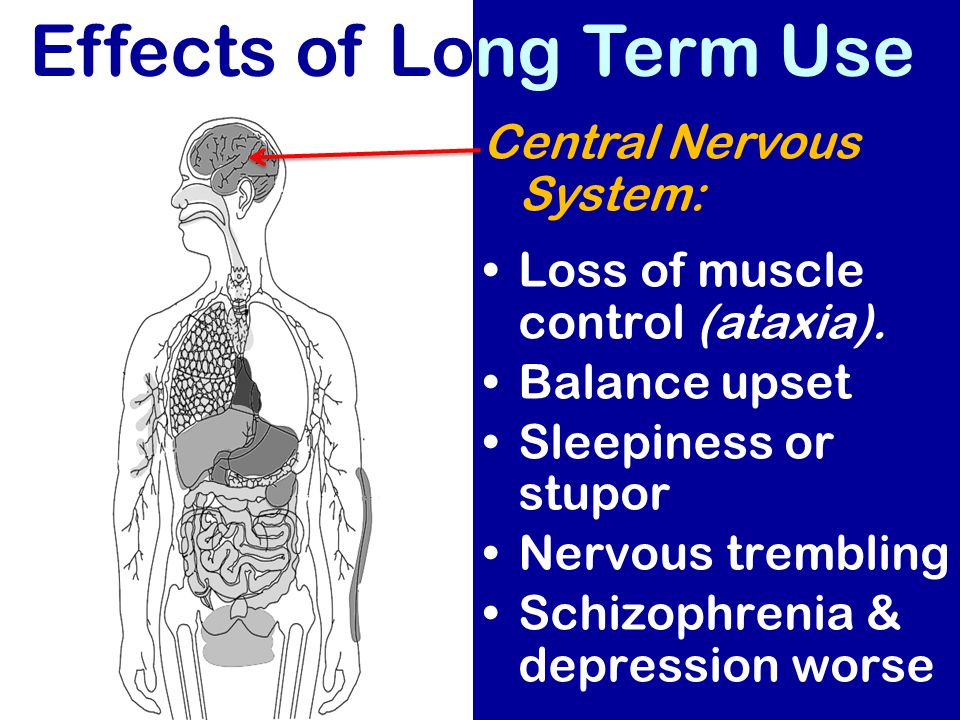 Central Nervous System: Loss of muscle control (ataxia). Balance upset Sleepiness or stupor Nervous trembling Schizophrenia & depression worse