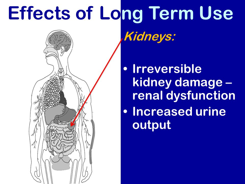 Effects of Long Term Use Kidneys: Irreversible kidney damage – renal dysfunction Increased urine output