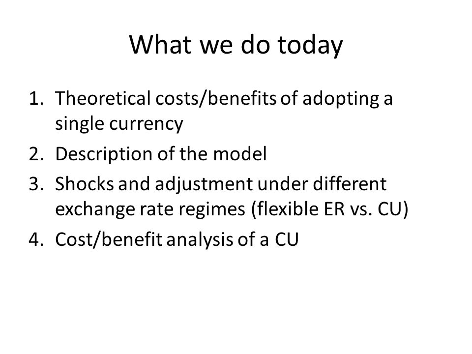 What we do today 1.Theoretical costs/benefits of adopting a single currency 2.Description of the model 3.Shocks and adjustment under different exchange rate regimes (flexible ER vs.