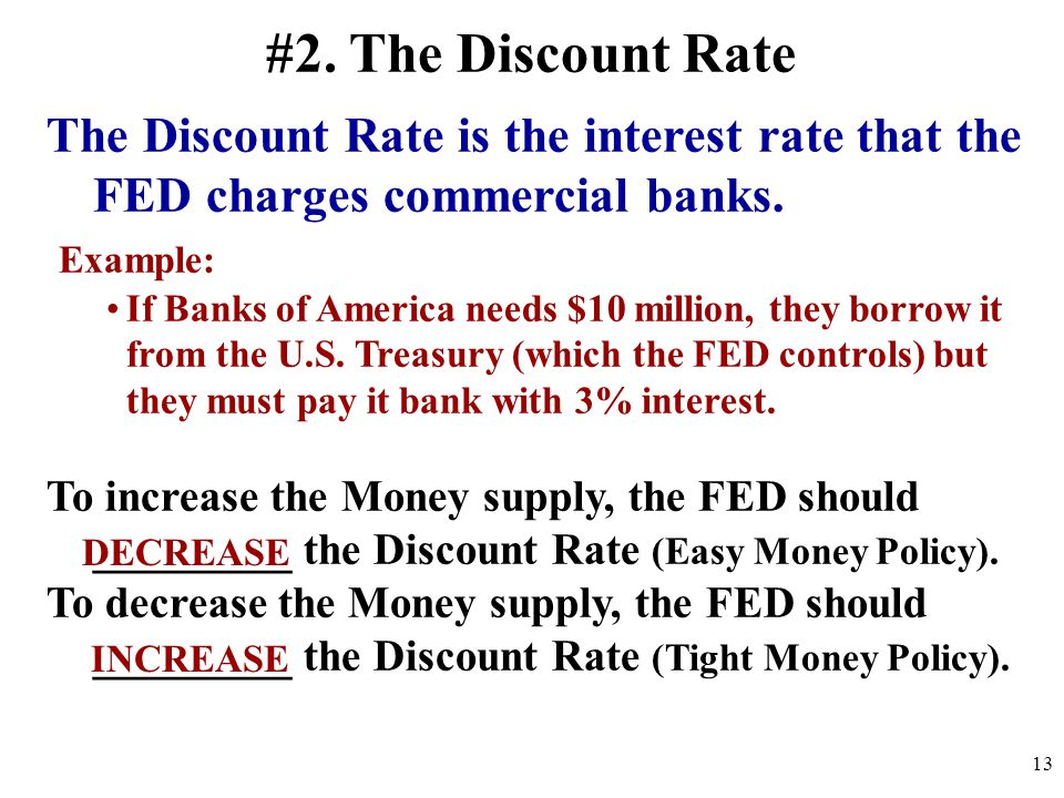 #2.The Discount Rate The Discount Rate is the interest rate that the FED charges commercial banks.