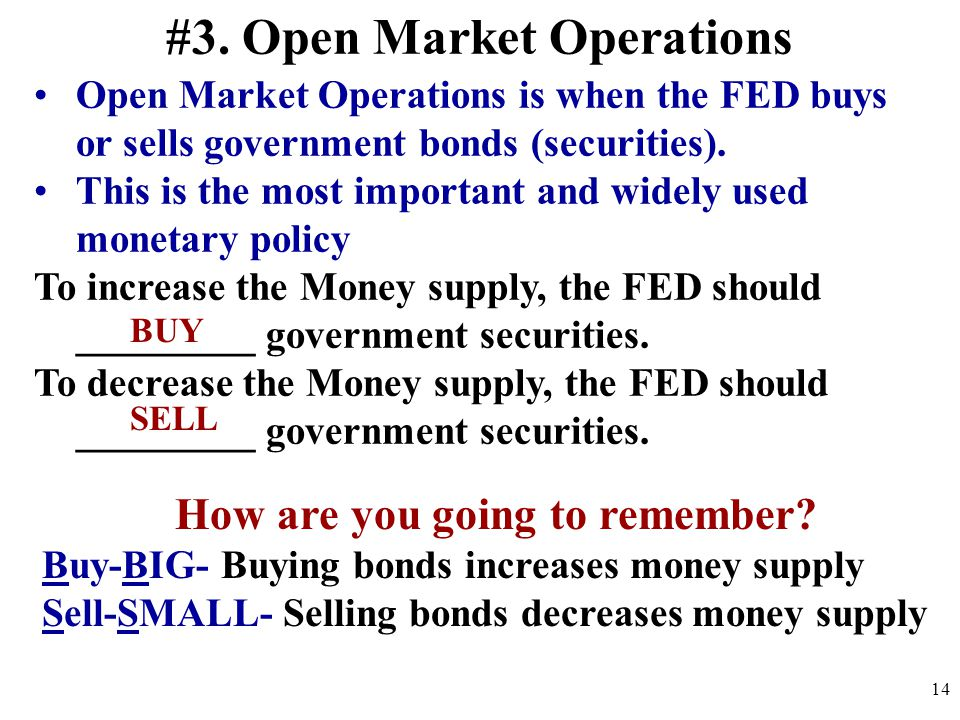 #3. Open Market Operations Open Market Operations is when the FED buys or sells government bonds (securities). This is the most important and widely u