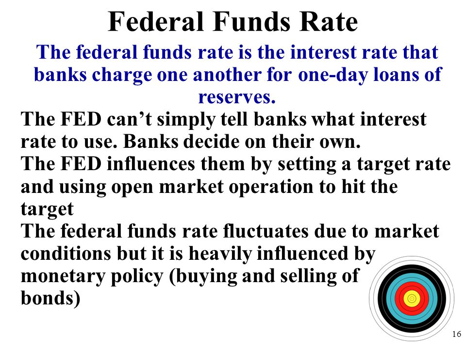 Federal Funds Rate 16 The federal funds rate is the interest rate that banks charge one another for one-day loans of reserves.