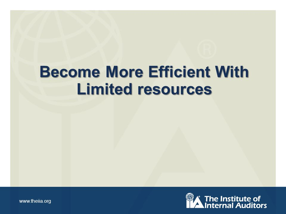 www.theiia.org Become More Efficient With Limited resources