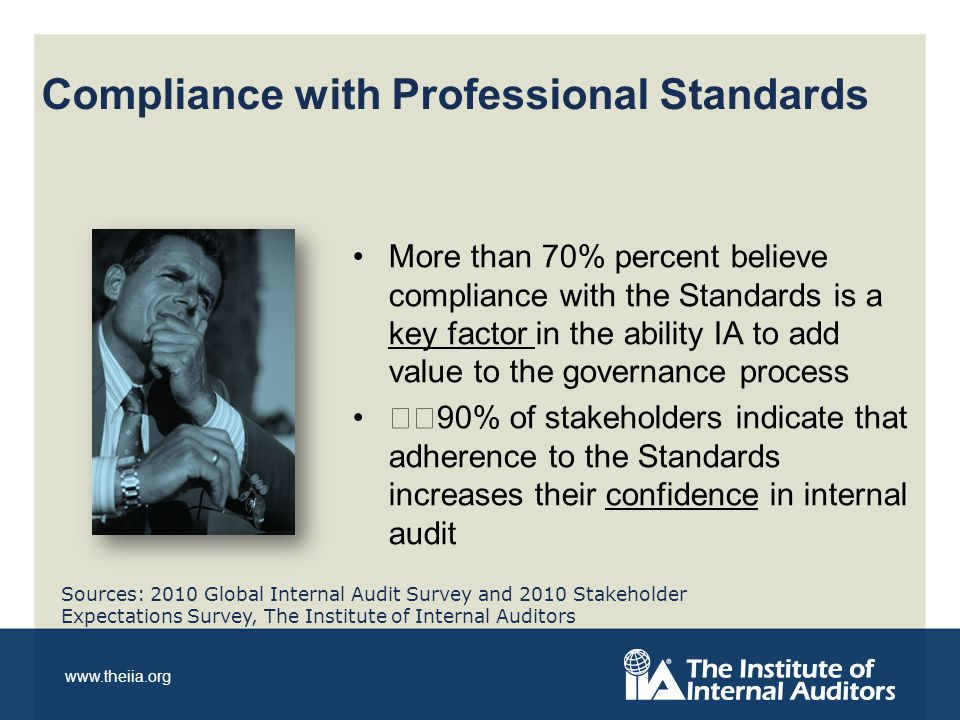 www.theiia.org More than 70% percent believe compliance with the Standards is a key factor in the ability IA to add value to the governance process 90% of stakeholders indicate that adherence to the Standards increases their confidence in internal audit Compliance with Professional Standards Sources: 2010 Global Internal Audit Survey and 2010 Stakeholder Expectations Survey, The Institute of Internal Auditors