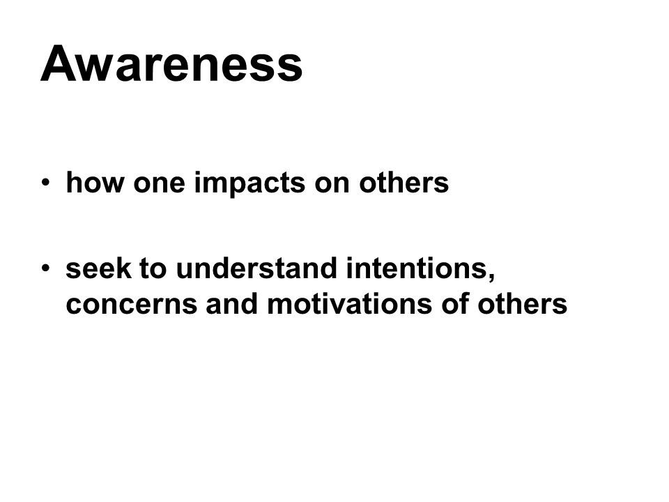 Awareness how one impacts on others seek to understand intentions, concerns and motivations of others