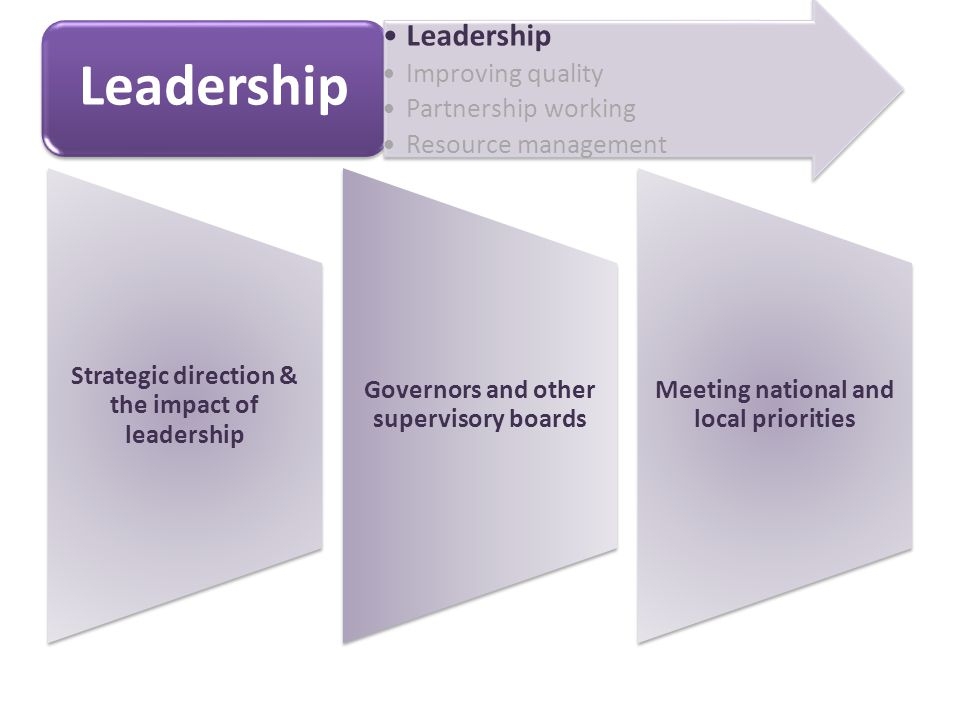 Strategic direction & the impact of leadership Governors and other supervisory boards Meeting national and local priorities Leadership Improving quality Partnership working Resource management