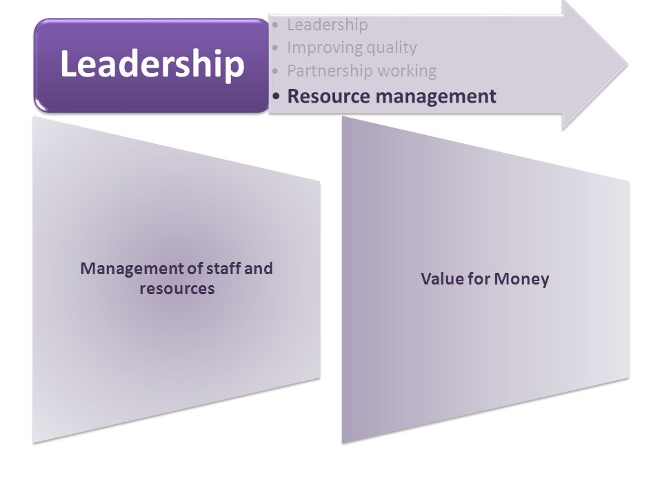 Management of staff and resources Value for Money Leadership Improving quality Partnership working Resource management