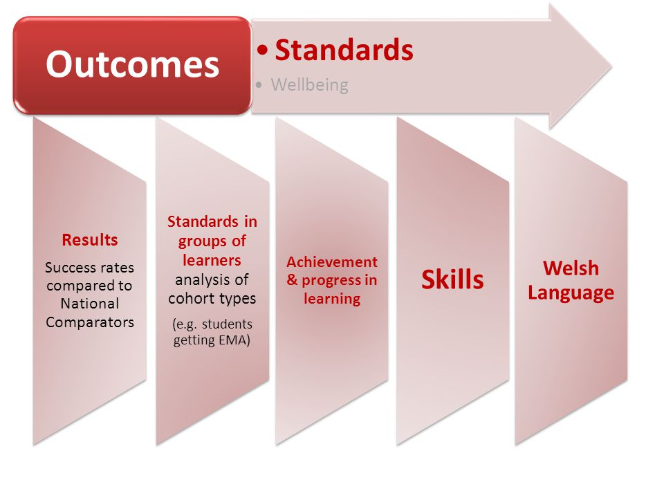 Results Success rates compared to National Comparators Standards in groups of learners analysis of cohort types (e.g.