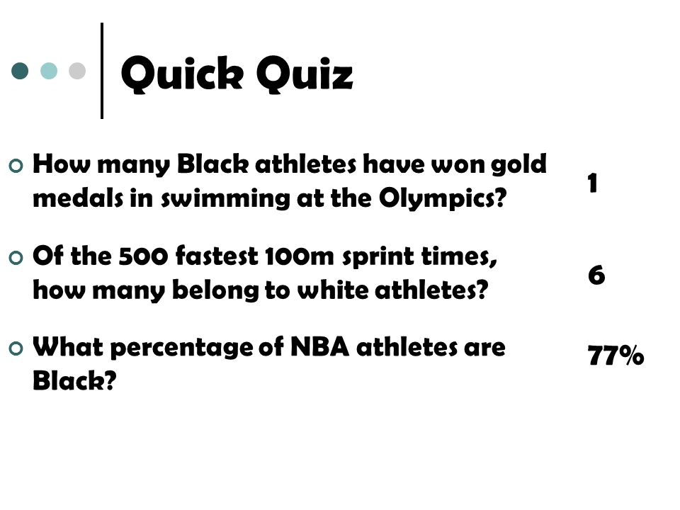 Quick Quiz How many Black athletes have won gold medals in swimming at the Olympics.