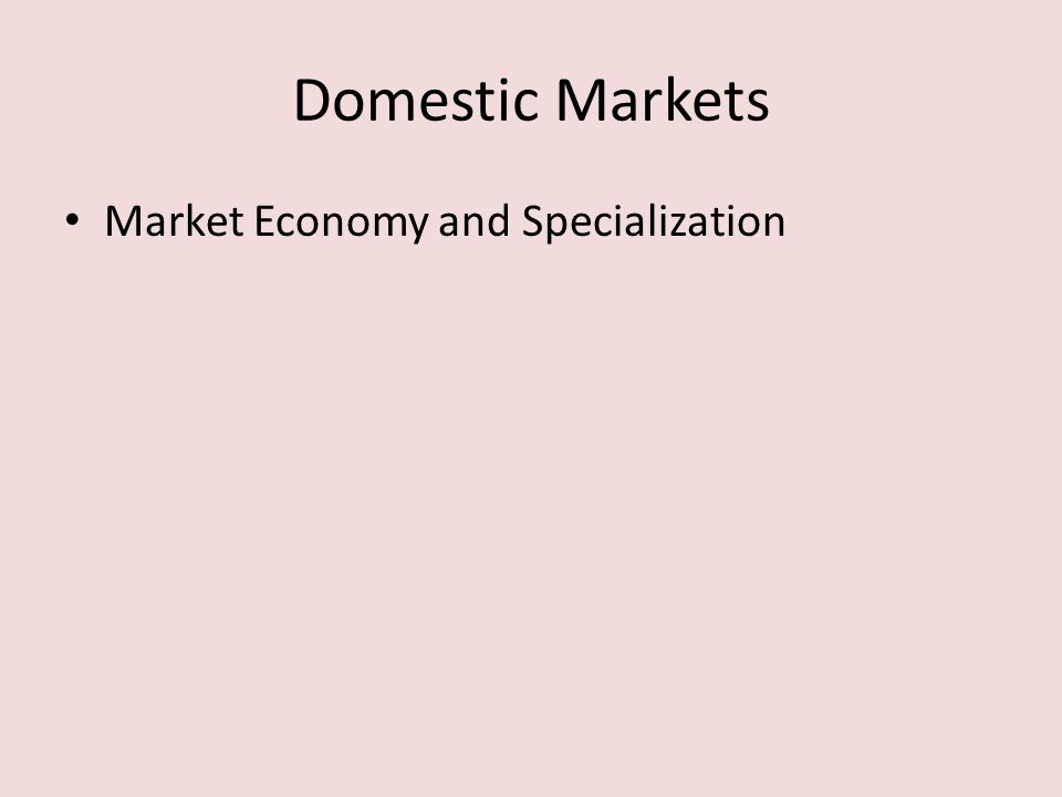 Domestic Markets Market Economy and Specialization