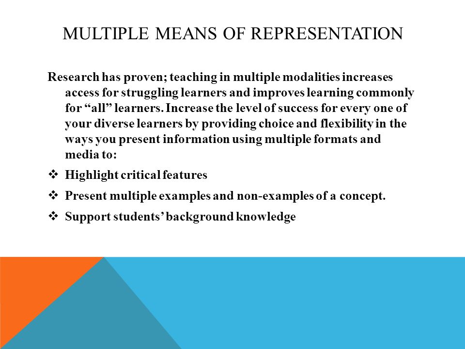 MULTIPLE MEANS OF REPRESENTATION Research has proven; teaching in multiple modalities increases access for struggling learners and improves learning commonly for all learners.