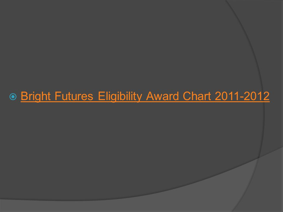 Bright Futures Eligibility Award Chart 2011-2012