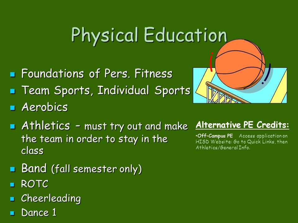 Physical Education Foundations of Pers. Fitness Foundations of Pers. Fitness Team Sports, Individual Sports Team Sports, Individual Sports Aerobics Ae