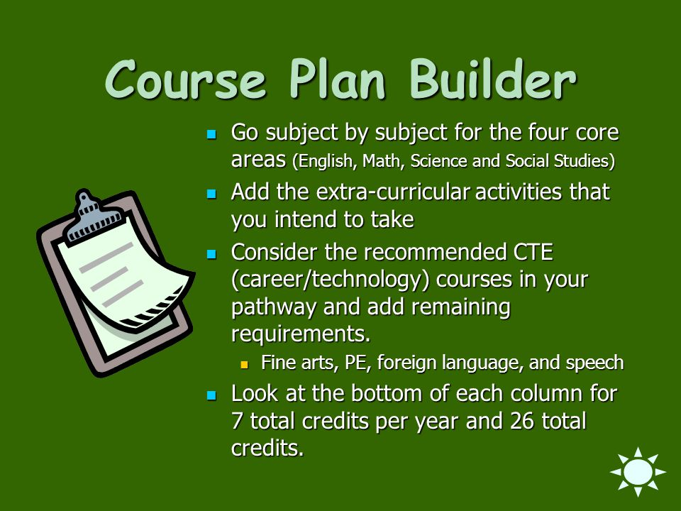 Course Plan Builder Go subject by subject for the four core areas (English, Math, Science and Social Studies) Go subject by subject for the four core