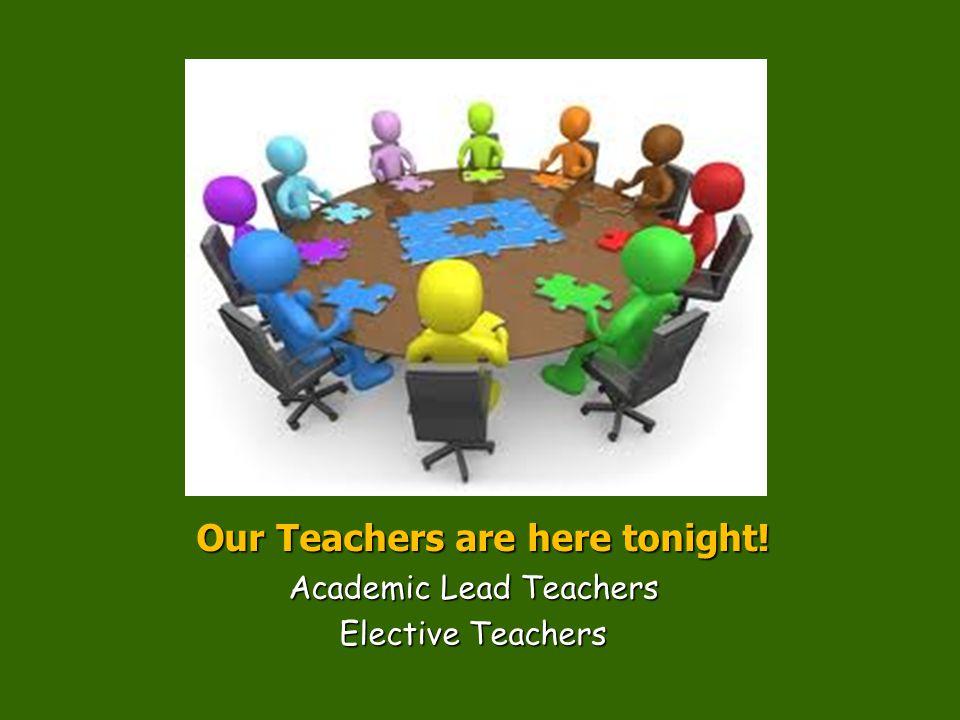 Our Teachers are here tonight! Academic Lead Teachers Elective Teachers