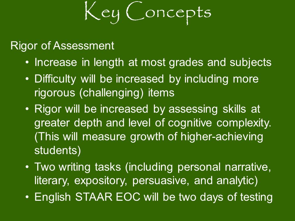 Rigor of Assessment Increase in length at most grades and subjects Difficulty will be increased by including more rigorous (challenging) items Rigor w