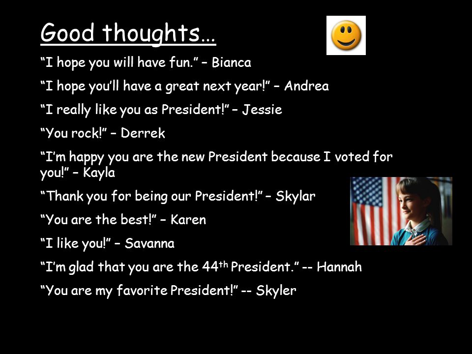 Good thoughts… I hope you will have fun. – Bianca I hope youll have a great next year.