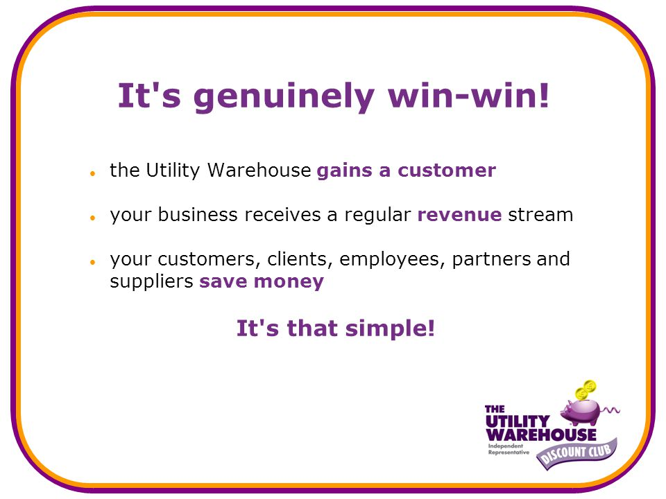 A Unique Double the Difference Price Promise Full details of the Utility Warehouse Price Promise are available on the Utility Warehouse website.