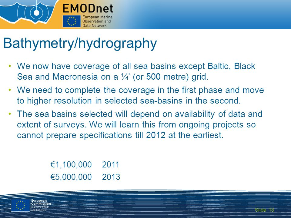Slide MARITIME AFFAIRS 18 Bathymetry/hydrography We now have coverage of all sea basins except Baltic, Black Sea and Macronesia on a ¼ (or 500 metre)