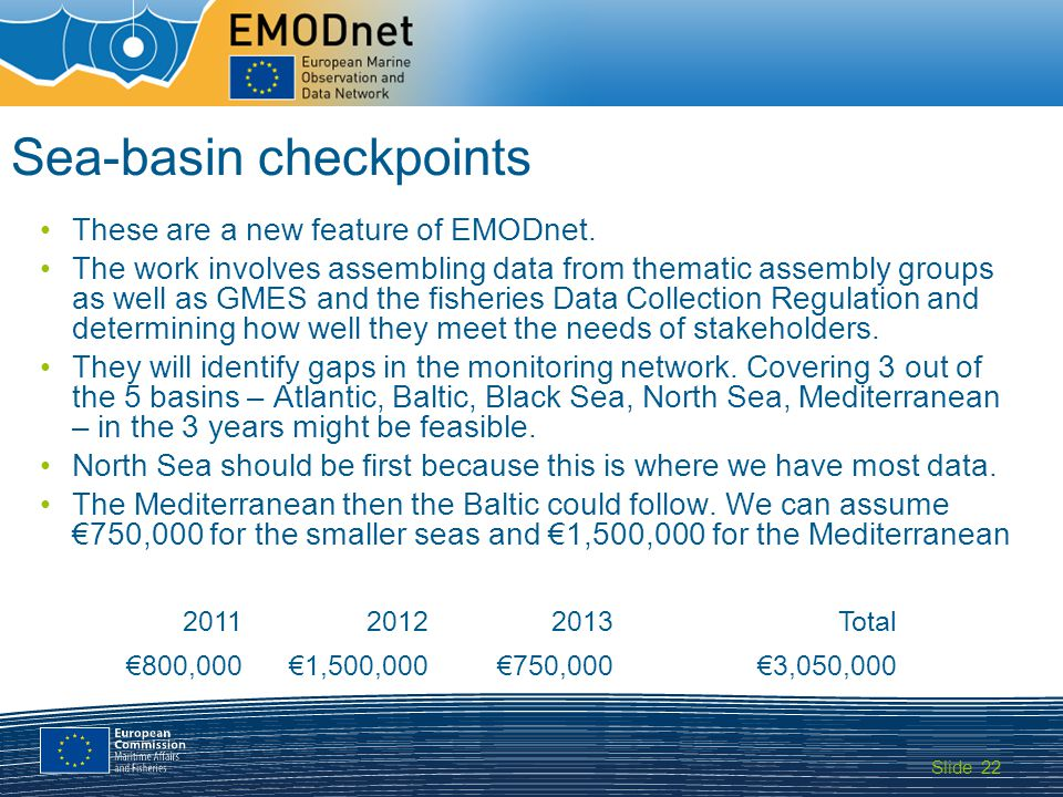 Slide MARITIME AFFAIRS 22 Sea-basin checkpoints These are a new feature of EMODnet.