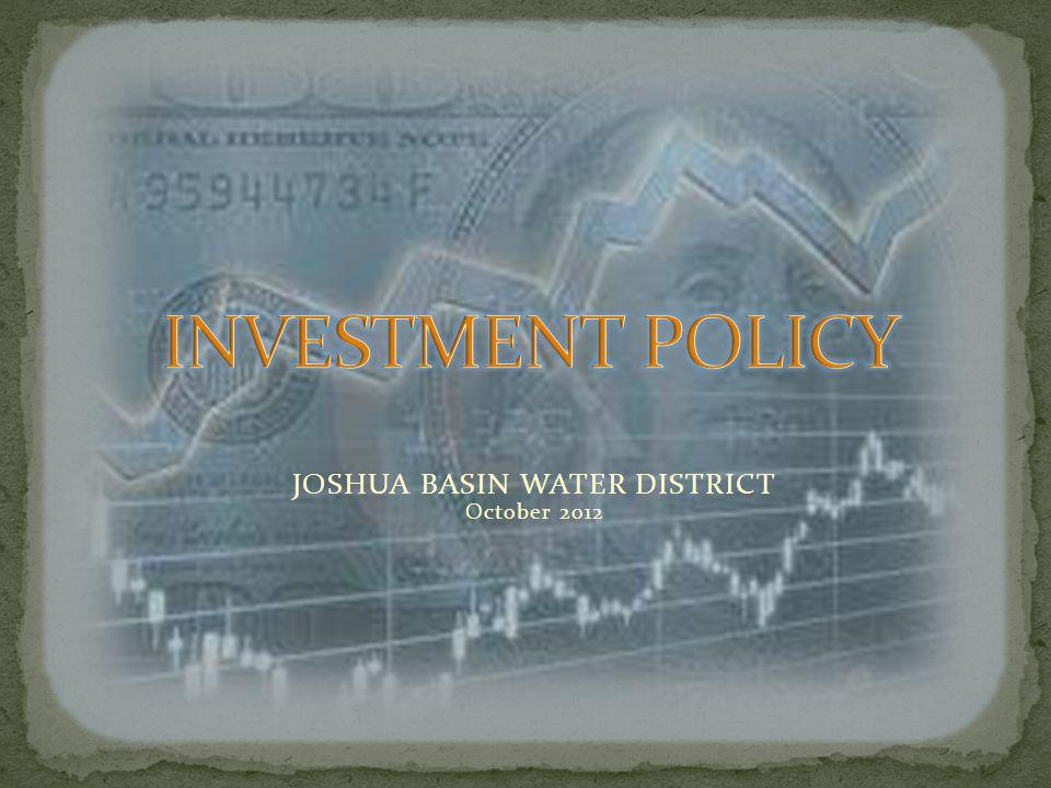JOSHUA BASIN WATER DISTRICT October 2012