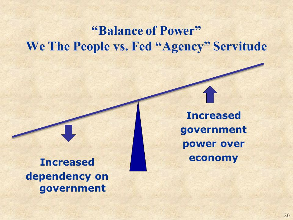 Balance of Power We The People vs. Fed Agency Servitude Increased dependency on government 20 Increased government power over economy