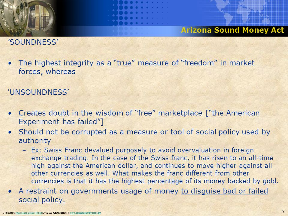 Title Slide Box Title & Headline SOUNDNESS The highest integrity as a true measure of freedom in market forces, whereas UNSOUNDNESS Creates doubt in t