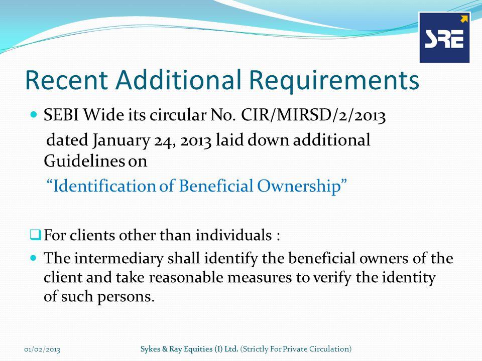 Recent Additional Requirements SEBI Wide its circular No.