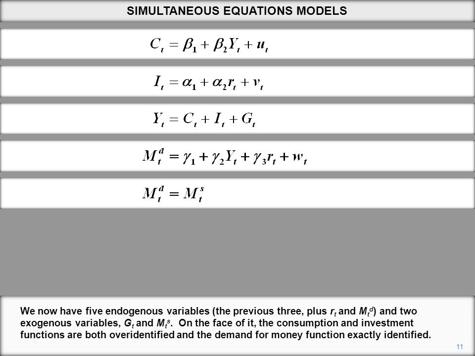 11 We now have five endogenous variables (the previous three, plus r t and M t d ) and two exogenous variables, G t and M t s.