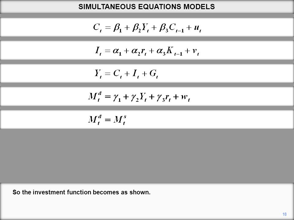 18 So the investment function becomes as shown. SIMULTANEOUS EQUATIONS MODELS