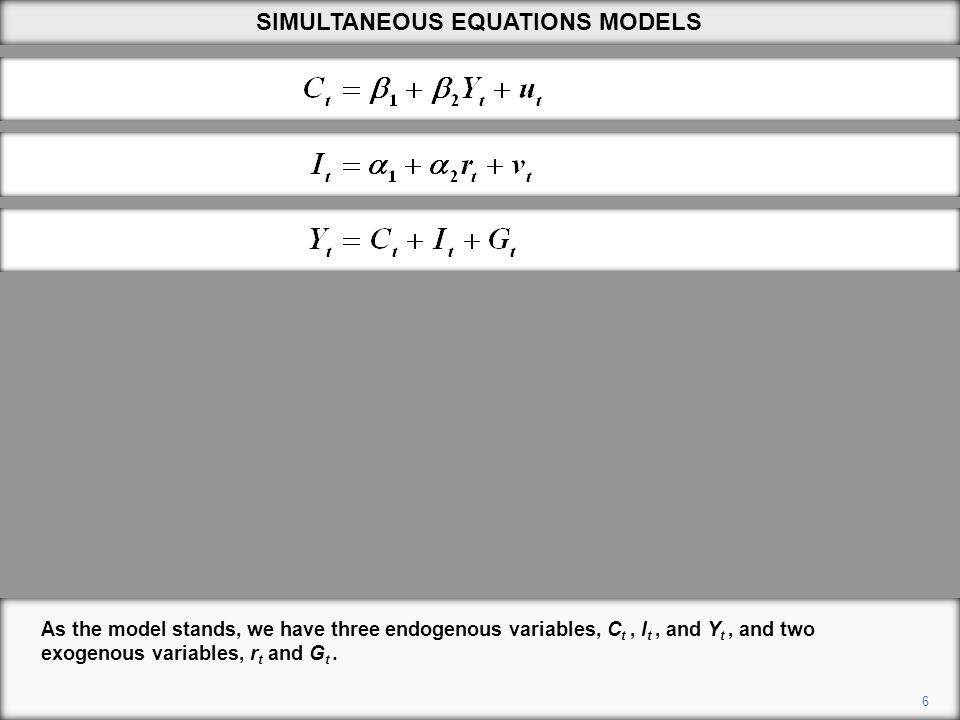 6 As the model stands, we have three endogenous variables, C t, I t, and Y t, and two exogenous variables, r t and G t.