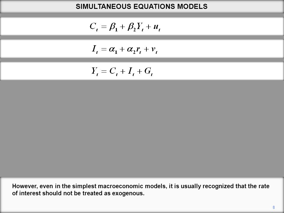 8 However, even in the simplest macroeconomic models, it is usually recognized that the rate of interest should not be treated as exogenous. SIMULTANE