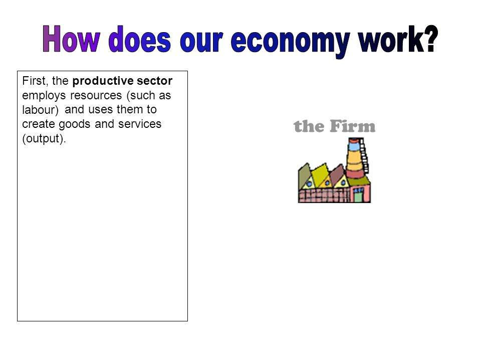 Households Households consume these goods and services and provide Firms with the resources (such as labour) that they require.