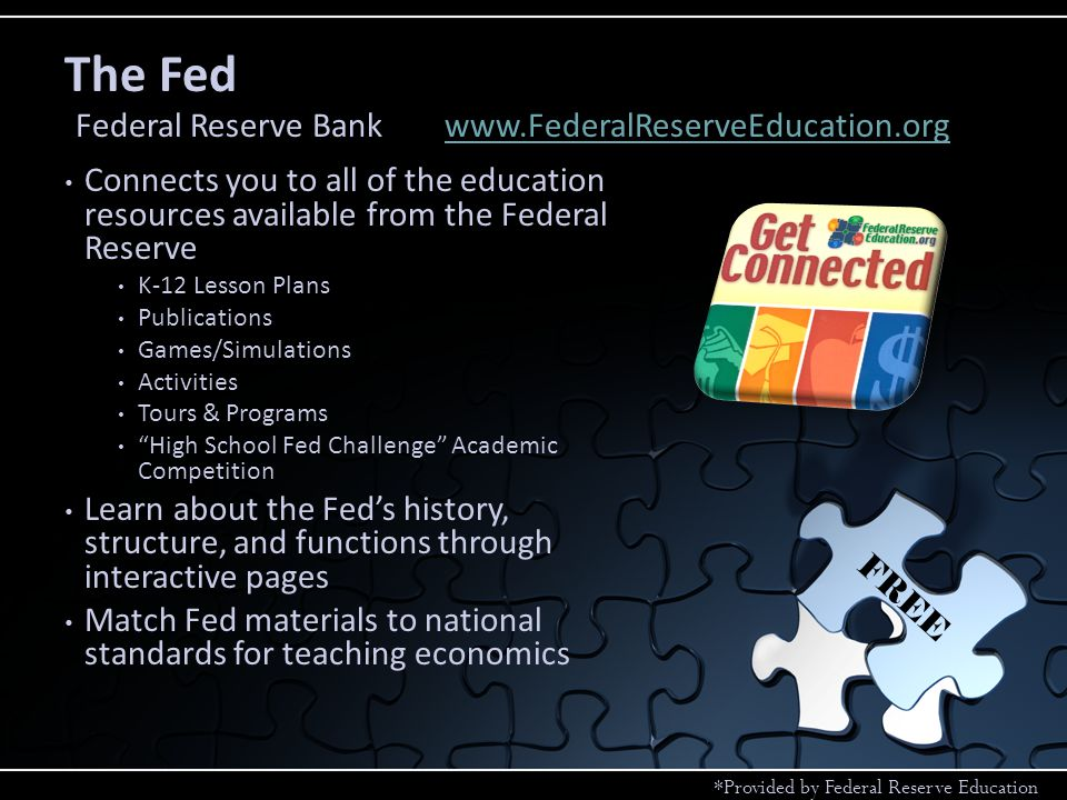 Connects you to all of the education resources available from the Federal Reserve K-12 Lesson Plans Publications Games/Simulations Activities Tours & Programs High School Fed Challenge Academic Competition Learn about the Feds history, structure, and functions through interactive pages Match Fed materials to national standards for teaching economics The Fed Federal Reserve Bankwww.FederalReserveEducation.orgwww.FederalReserveEducation.org FREE *Provided by Federal Reserve Education