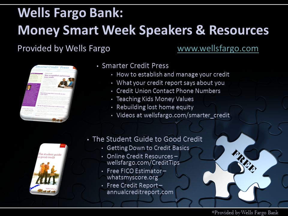 Hands on Banking Create a budget Checking & Savings Options Shop Wisely Information Online Lessons Wells Fargo Bank: Hands on Banking Program Provided by Wells Fargowww.handsonbanking.orgwww.handsonbanking.org FREE *Provided by Wells Fargo Bank