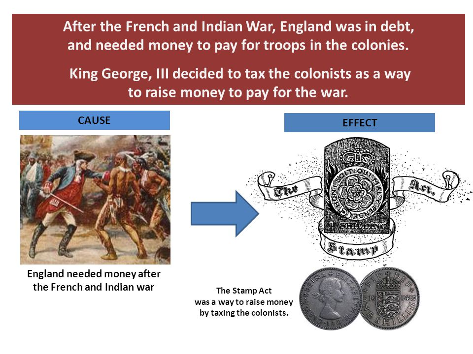After the French and Indian War, England was in debt, and needed money to pay for troops in the colonies. King George, III decided to tax the colonist
