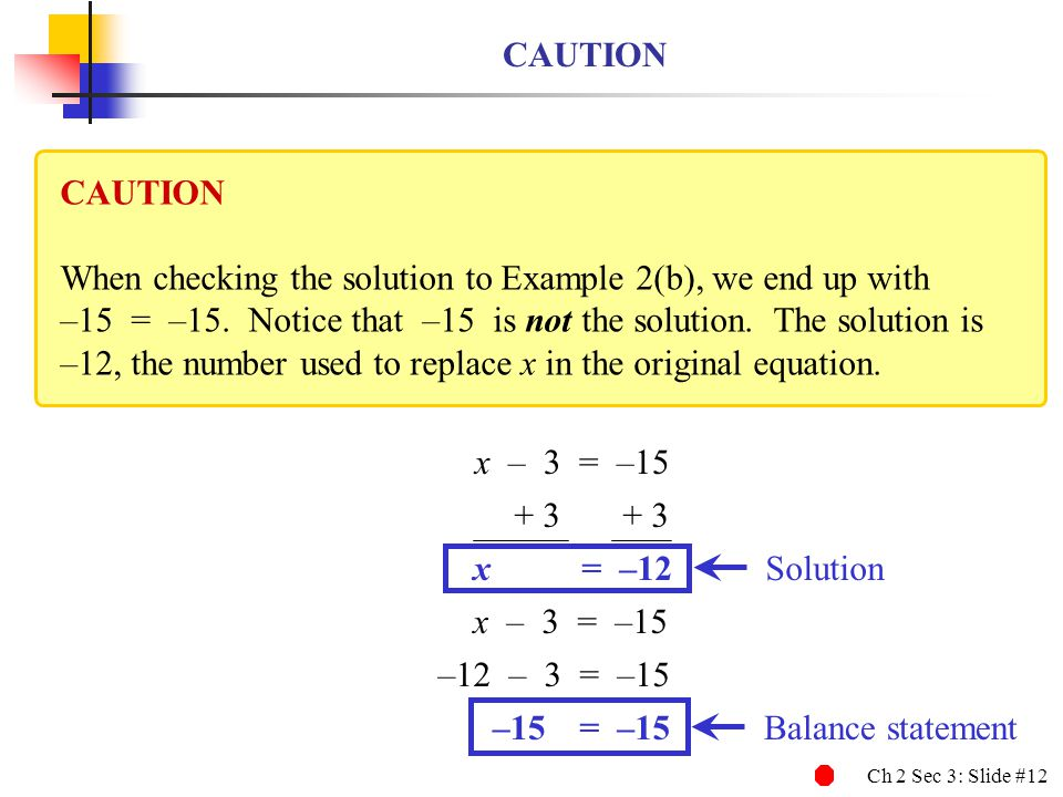 Ch 2 Sec 3: Slide #12 CAUTION When checking the solution to Example 2(b), we end up with –15 = –15. Notice that –15 is not the solution. The solution