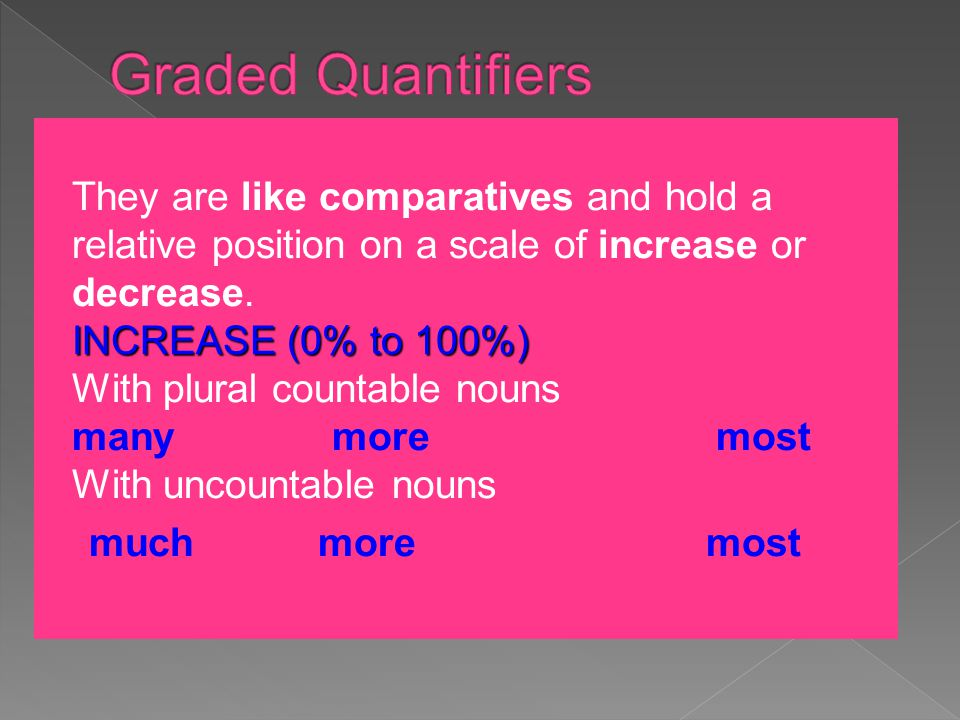 INCREASE (0% to 100%) They are like comparatives and hold a relative position on a scale of increase or decrease. INCREASE (0% to 100%) With plural co