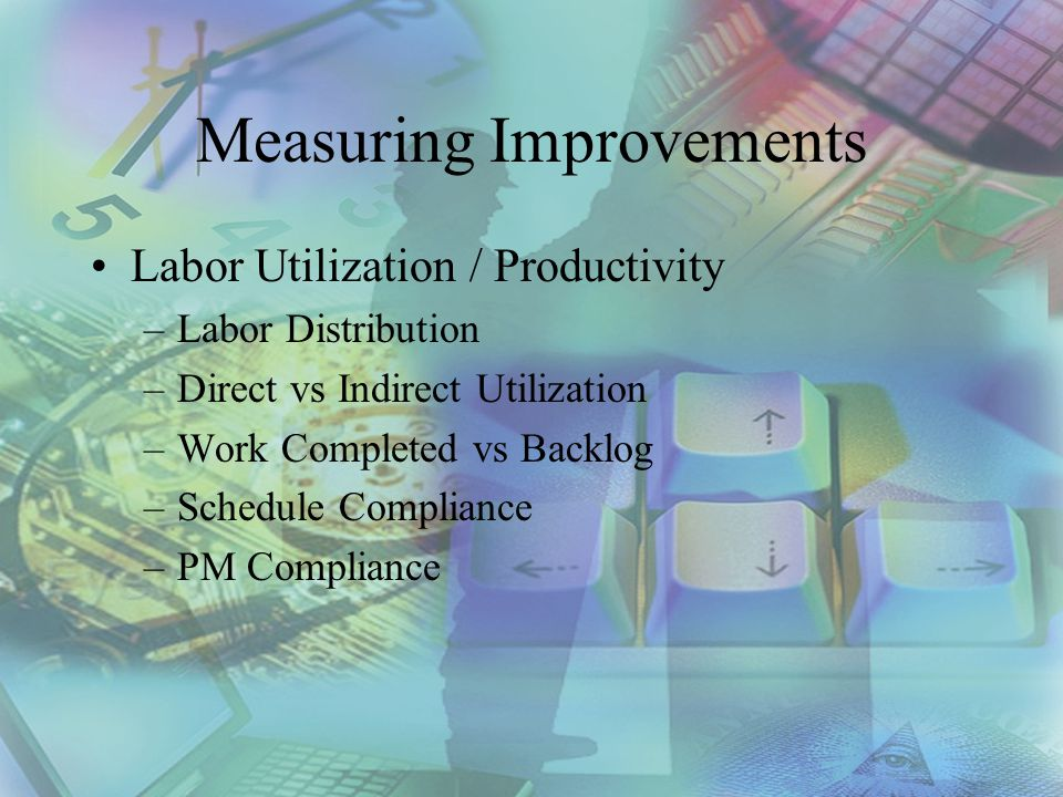 Measuring Improvements Labor Utilization / Productivity –Labor Distribution –Direct vs Indirect Utilization –Work Completed vs Backlog –Schedule Compliance –PM Compliance