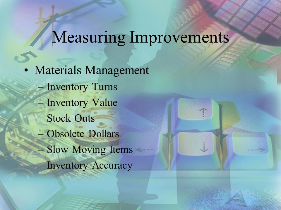 Measuring Improvements Materials Management –Inventory Turns –Inventory Value –Stock Outs –Obsolete Dollars –Slow Moving Items –Inventory Accuracy