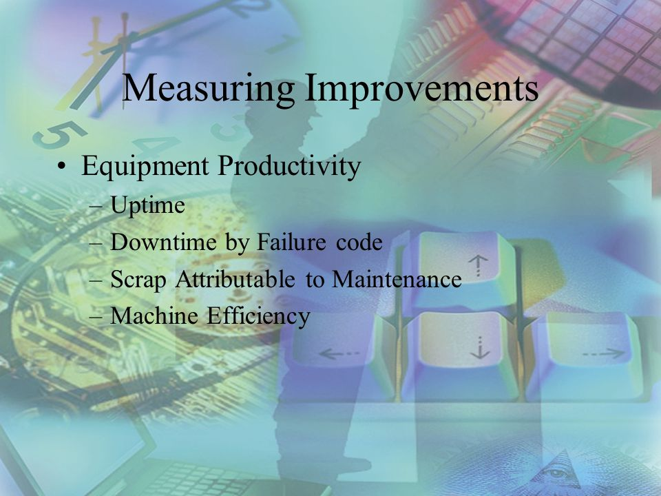 Measuring Improvements Equipment Productivity –Uptime –Downtime by Failure code –Scrap Attributable to Maintenance –Machine Efficiency