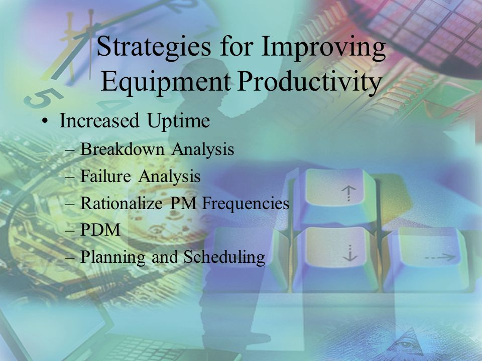 Strategies for Improving Equipment Productivity Increased Uptime –Breakdown Analysis –Failure Analysis –Rationalize PM Frequencies –PDM –Planning and Scheduling